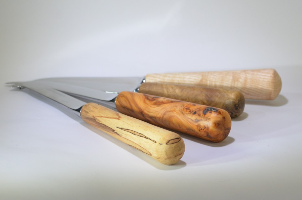 Image of Cheese knives in Irish grown timber with Sheffield stainless steel handles.