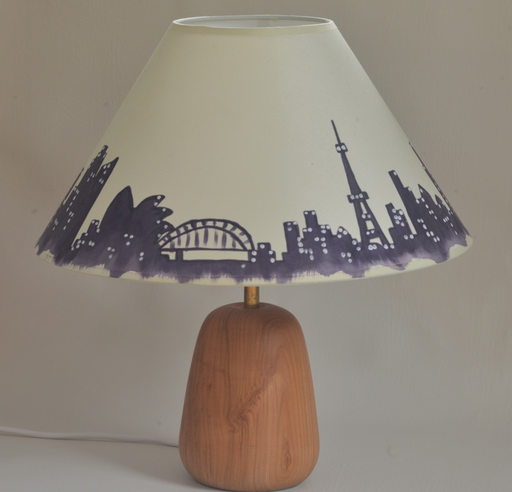 Image of cherry lamp base with hand painted shade by Olive Murphy.